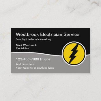 modern electrician service with logo template business card