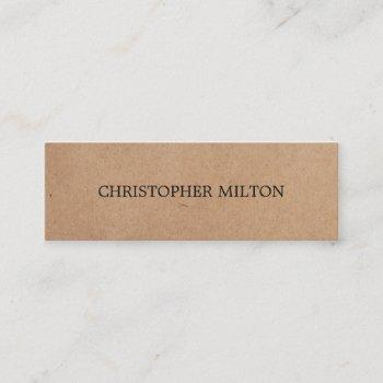 modern elegant black white kraft paper consultant mini business card