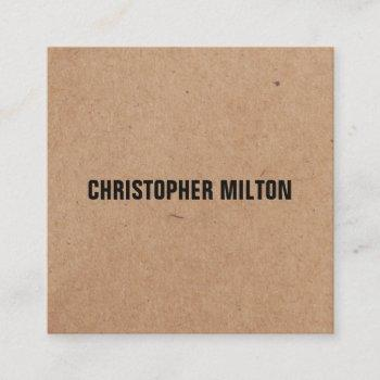 modern elegant black white kraft paper consultant square business card