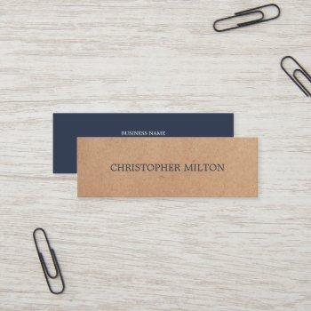 modern elegant blue printed kraft paper consultant mini business card