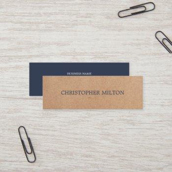 modern elegant blue printed kraft paper consultant mini business card