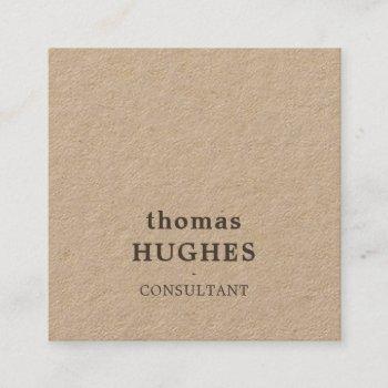 modern elegant brown kraft consultant square business card