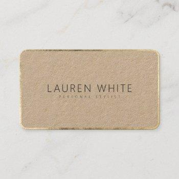 modern elegant chic gold black minimalist kraft business card