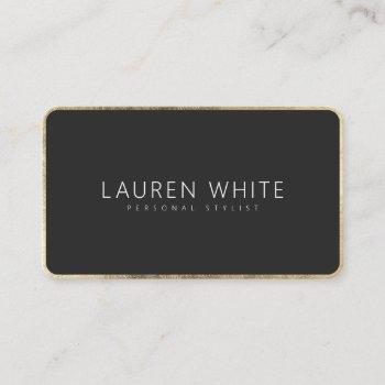 modern elegant chic gold black minimalist rounded business card