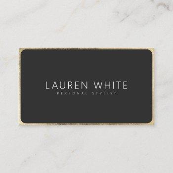 modern elegant chic gold black rounded minimalist business card