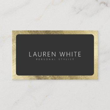 modern elegant chic gold black rounded minimalist business card