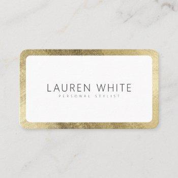 modern elegant chic gold white minimalist rounded business card