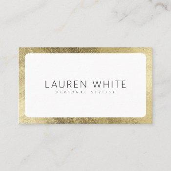 modern elegant chic gold white rounded minimalist business card