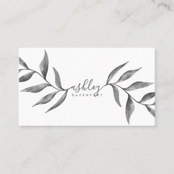 modern elegant floral black watercolor flowers business card