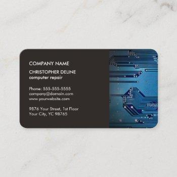 modern elegant grey blue circuit computer repair business card