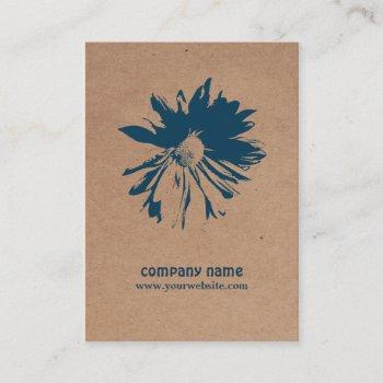 modern elegant kraft paper blue floral patterned business card