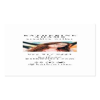 Small Modern Elegant Lavender Minimalist Photo Writer Mini Business Card Back View