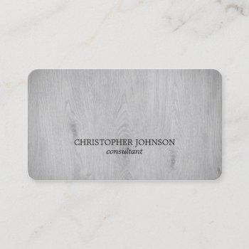 modern elegant light grey wooden consultant business card