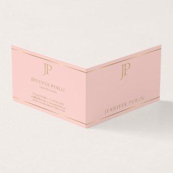 modern elegant monogram pink gold simple template business card