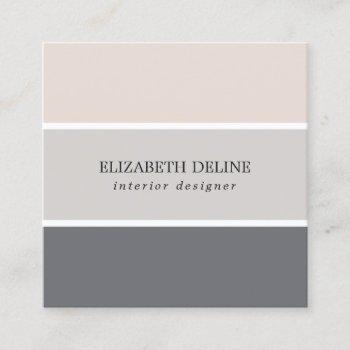 modern elegant pastel stripes interior designer square business card