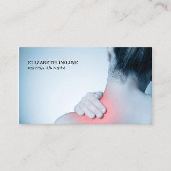 modern elegant photo massage therapist business card