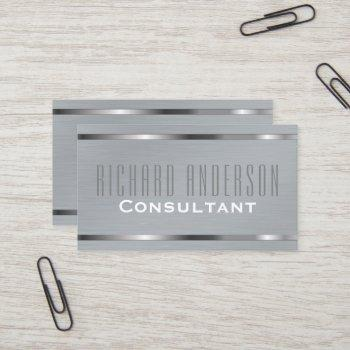 modern elegant professional gray brushed metal business card