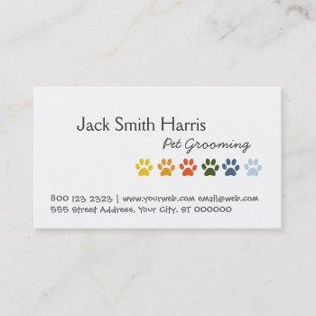 modern elegant rainbow pets animal paws business card