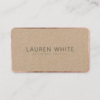modern elegant rose gold black minimalist kraft business card