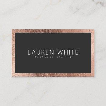 modern elegant rose gold black rounded minimalist business card