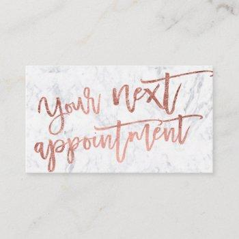 modern elegant rose gold script typography marble appointment card
