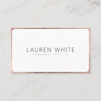 modern elegant rose gold white rounded minimalist business card