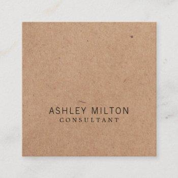 modern elegant rose printed kraft paper consultant square business card