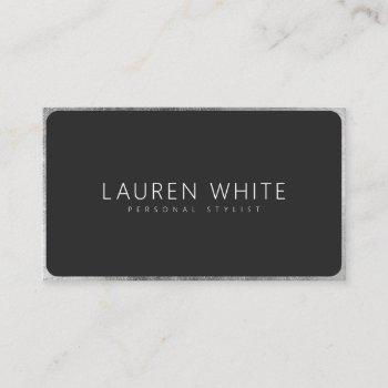 modern elegant silver black rounded minimalist business card