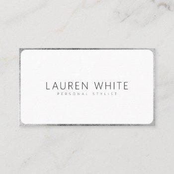 modern elegant silver white rounded minimalist business card