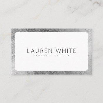 modern elegant silver white rounded minimalist business card