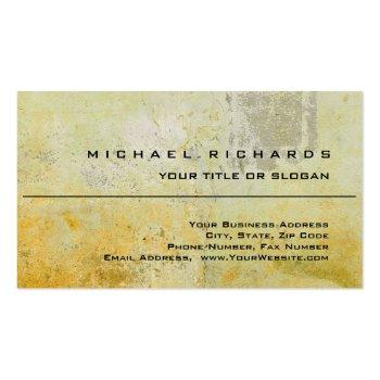 Small Modern Elegant Unique Plain Yellow Wall Mortar Business Card Front View