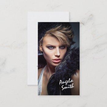modern elegant white circle model photo portfolio business card