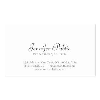 Small Modern Elegant White Simple Professional Plain Business Card Front View
