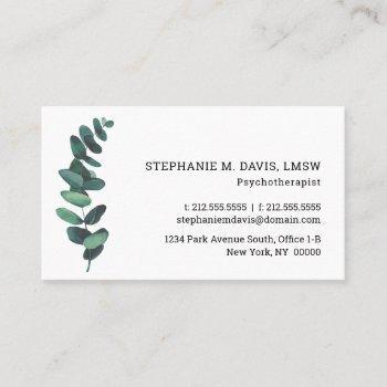 modern eucalyptus psychotherapist business card