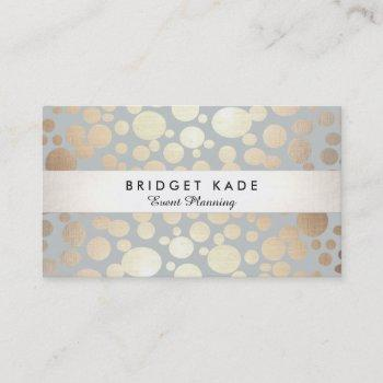 modern event planner gold & silver spotted pattern business card