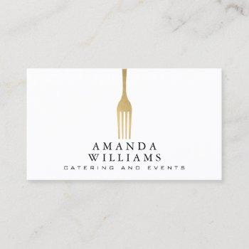 modern faux gold fork catering logo business card
