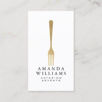 modern faux gold fork catering logo ii business card