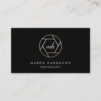 modern faux gold photographer monogram logo business card