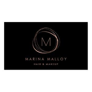 Small Modern Faux Rose Gold Abstract Business Card Front View
