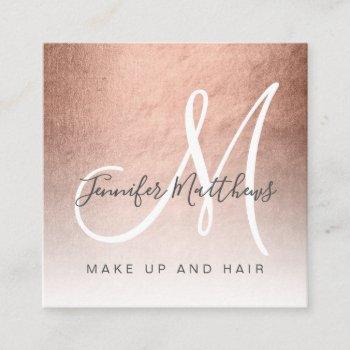 modern faux rose gold abstract makeup artist square business card