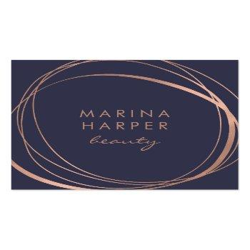 Small Modern Faux Rose Gold Abstract Square Business Card Front View