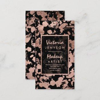 modern faux rose gold brushstrokes makeup artist business card