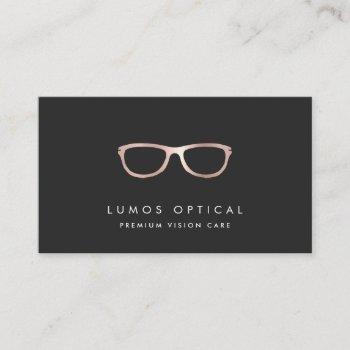 modern faux rose gold glasses logo business card