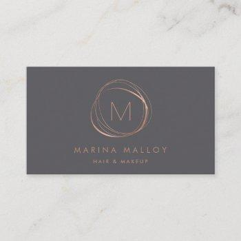 modern faux rose gold & gray abstract business card