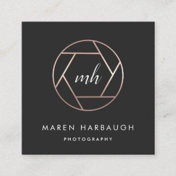 modern faux rose gold photographer monogram logo square business card