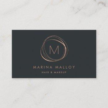 modern faux rose gold & soft black abstract business card