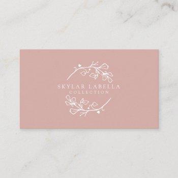 modern floral botanic line-art logo wreath business card