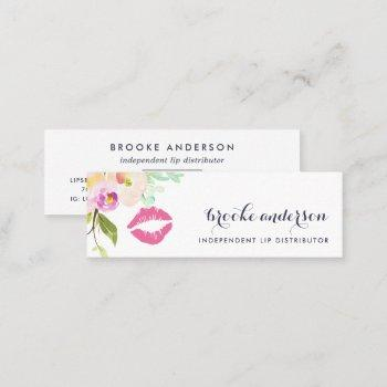 modern floral lip product distributor mini business card