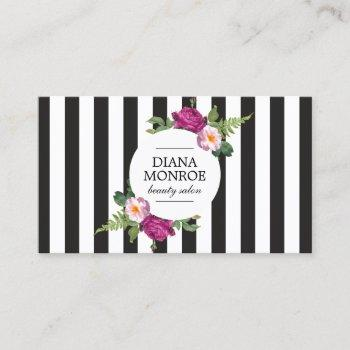 modern floral wreath striped salon business card