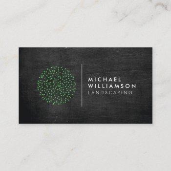 modern gardener landscaping shrub logo black wood business card